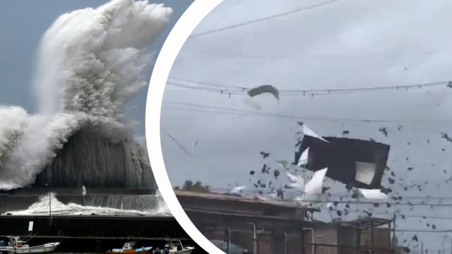 Skrackvideon visar tyfonen jebis framfart i japan